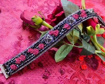 Black Rose choker necklace - Embroidered Choker - Gothic Rose Choker - Red Rose Choker - Womens Choker - black lace choker statement choker