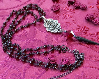 Silver Rose Necklace - Red Rose Earrings - Red Rosary Necklace - Rose Gothic Necklace - Goth Rosary Jewelry - Goth Rose Pendant