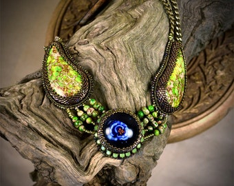 Boho Flower Pendant - Floral Boho Necklace - Multistrand Necklace - Blue Floral Pendant - Double Strand Necklace - Embroidered Elven Pendant