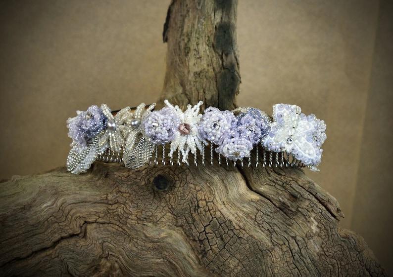 wedding flower crown Pastel Flower Crown Pastel Floral Crown Jeweled Headband Jewelled Headband Floral hairpiece Lavender Hair Wreath