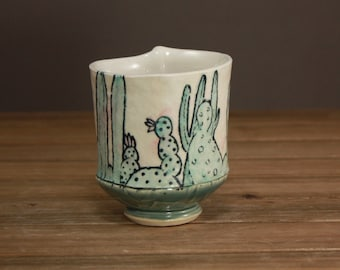Cactus Whiskey Cup  Succulent Garden Cup  Spring Gift  Inspired by Nature  Tea Cup 