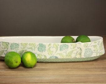 Quilt Pattern Fruit Bowl  Lime Boat  Centerpiece  Summer Entertaining  Floral Pottery  Serving Dish  Spring Decor