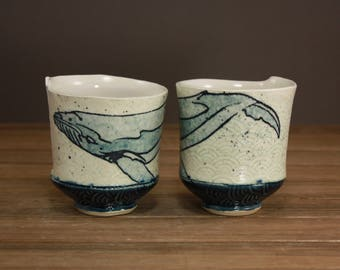 Watercolor Whale Whiskey Cup  Ocean Minded Arts  Beach Decor  Inspired by Nature  Tea Cup 