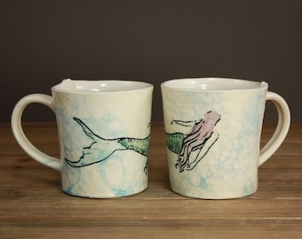 Mermaid Mug  Ocean Minded Arts  Gift for Beach Lover  Mermaid Love  Inspirational Cup  Illustrated  Clay Cup