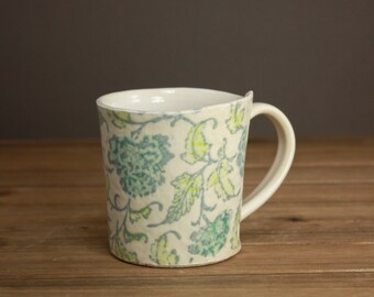 Floral Quilt Mug  Textile Inspired Mug  Dreamy Pottery  Nighttime Tea Mug  Graduation Gift