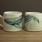 Pinched and Printed Watercolor Whale Mugs