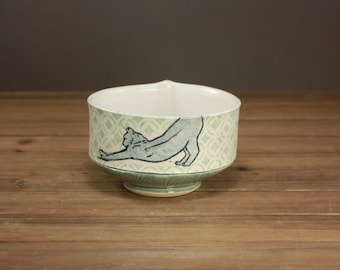 Yoga Cat Bowl  Pet Pottery  Gift for the Cat Lover  Yoga Cat
