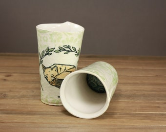 Sleepy Fox Tumbler- woodland inspired ceramic drinkware- sweet kitchenware- wildflower vase- cocktail tumbler