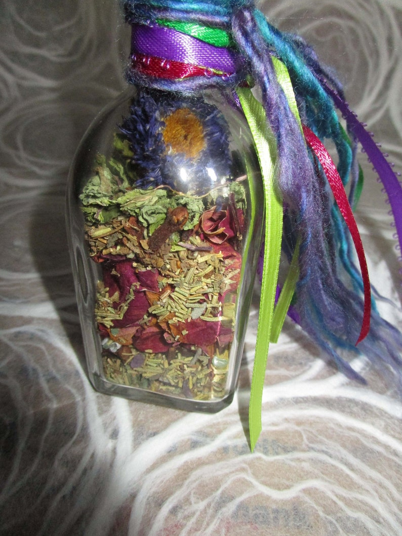 Earthly Gifts Creativity Witch Bottle all Natural-Herbs-Flowers-Crystals
