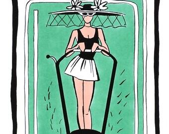 print lawnmower lady yard art mowing mow the lawn mower patio signs patio decor pin up girl diva lawn art housewarming gift