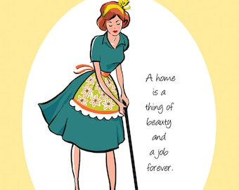 """PRINT - """"A Home Is A Thing of Beauty and a Job Forever"""", quote prints, quotations, dining room art, wall decor, kitchen decor, kitchen signs"""