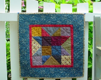Easy Small Quilt Pattern - Scrappy Star Quilt