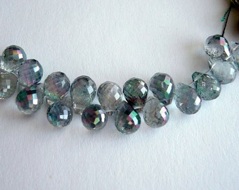A Mystic Topaz Faceted Brioletttes - 8-9mm - 6 beads