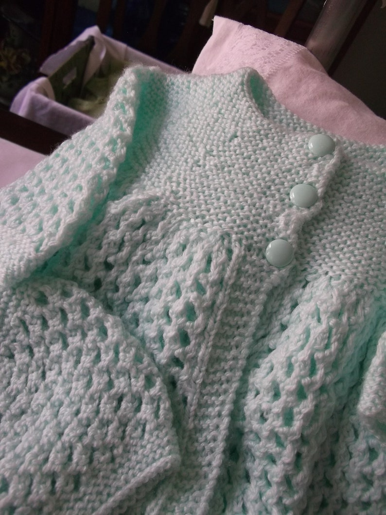 Hand Knit Baby Sweater and Hat Set Pale Green Baby Sweater Set