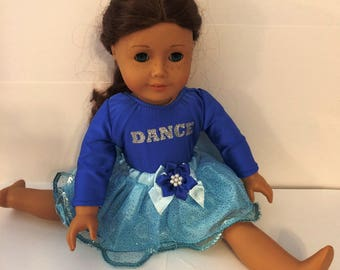 """Dancing#10 blue leotard with blue skirt for 18"""" doll like the American doll"""