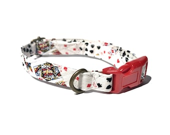 Blackjack - White Black Red Casino Playing Cards Aces Queens Jacks Organic Cotton CAT Collar - All Antique Metal Hardware