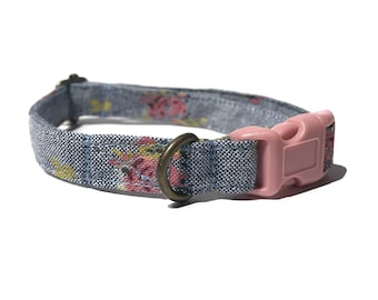 Farm Girl - Country Vintage Faded Denim Chambray Light Pink Floral Organic Cotton CAT Collar Breakaway Safety - All Antique Metal Hardware