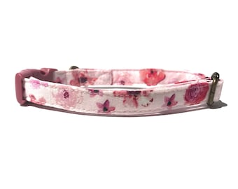 Astoria -Floral Girly Shabby Chic Light Pink Flowers Floral Girly Organic Cotton CAT Collar Breakaway Safety - All Antique Metal Hardware
