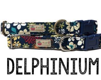 "Dark Blue White Yellow Orange Red Abstract Floral Flowers Girl Dog Collar - Antique Metal Hardware - ""Delphinium"""