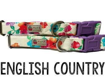 "Shabby Chic Light Yellow Flowers Floral Girly Red Purple Orange Blue Dog Collar - Antique Metal Hardware - ""English Country"""