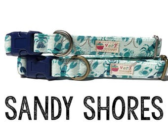 "Light Blue Lobster Crab Crustaceon Summer Nautical Dog Collar - Antique Metal Hardware - ""Sandy Shores"""