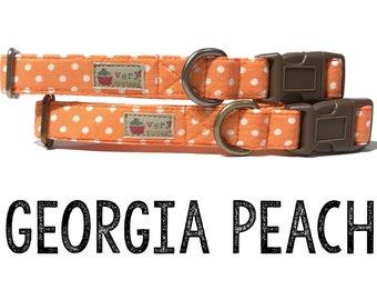 ef65a537d5 Peachy Orange White Vintage Polka Dot Dog Collar - Organic Cotton - Antique  Metal Hardware -