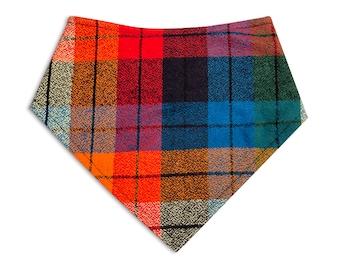 Dog Bandana, Dog Scarf, Plaid Bandana, Snap Dog bandana, dog gift, dog bandana, pet accessories, pet lover gift, fall plaid, orange, autumn