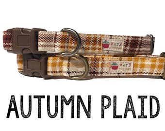 "Cream Yellow Orange Brown White Plaid Dog Collar - Organic Cotton Dog Collar - All Antique Metal Hardware - ""Autumn Plaid"""