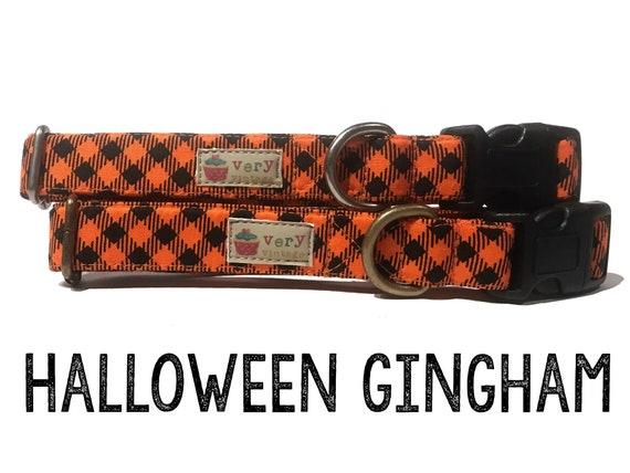 c9187413a477 Black Gingham Plaid Halloween Fall Dog Collar Organic Cotton | Etsy