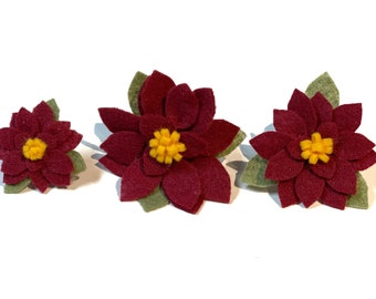 Poinsettia Dog Collar Flower, Dog Collar Flower, Special Occasion, Wedding Dog Flower, Christmas Dog Collar Flower, Maroon, Ready to Ship
