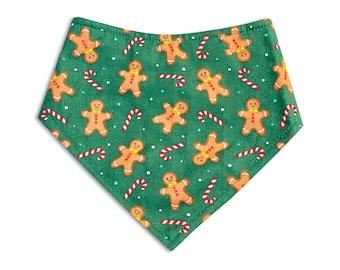Dog Bandana, Dog Scarf, Christmas Bandana, Snap Dog bandana, dog gift, dog bandana, pet accessories, pet lover gift, gingerbread, xmas