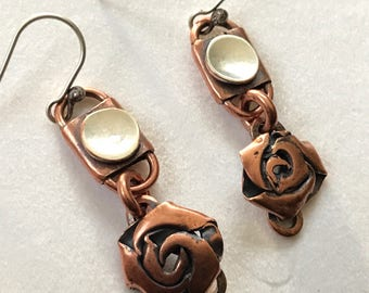 Roses of mixed metal sterling silver and copper metalsmith artisan jewelry unique and original