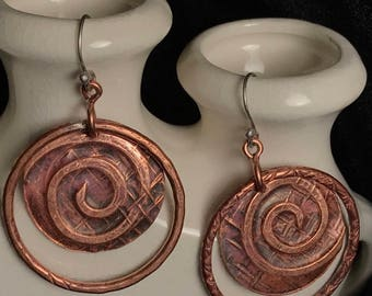 Galaxy and Universe' copper artisan earrings  17006