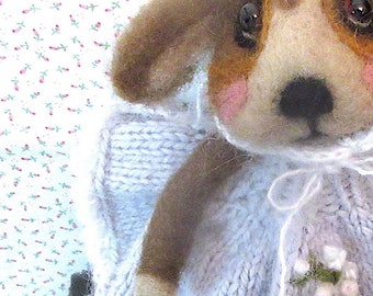 Hound Dog and Puppy/ Needle Felted Dolls; Hand Knit Blanket, /Heirloom Collectible