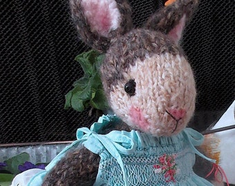 Hand Knit Stuffed  Bunny Doll in Hand Smocked Dress and Needle Felted Bunny /Two Handmade,Collectible Heirloom Animal Art Dolls/ OOAK