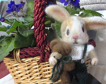 Bunny Rabbit,  Teddy Bear, 2 Needle Felted Dolls;  / One of a Kind/  Unique  Heirloom Collectibles/ Julian and Theodore-