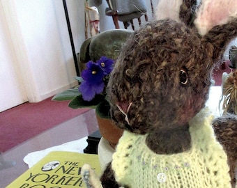 Knit Mohair Stuffed Bunny Doll/ Hand Knit Collectible Heirloom Rabbit, One of a Kind/ Arielle and Teddy Bunny