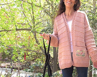 Womans Sweater, Hand Knit, Size S/M, Designed to Fit Oversized,  With OOAK  Artistic, Hand Embroidered, Hand Knit, Designed Pocket