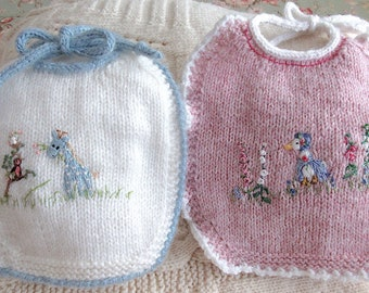 New, Heirloom Baby Bibs, Hand Knit, Hand Embroidered (Set of 2 Bibs)/ The Other Bib; Pretty and Practical, Set #2/ One of a Kind