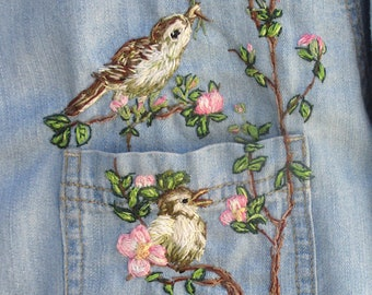 """Wearable Art Woman's Hand Embroidered Denim Shirt, Size Large/  Original, One of a Kind, New Shirt/ """"Painting""""  of Spring With Thread"""