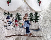 Smocked Baby Dress, Size 1, White / / Hand Smocked Hand Embroidered, One of a Kind, Winter/ Christmas Dress
