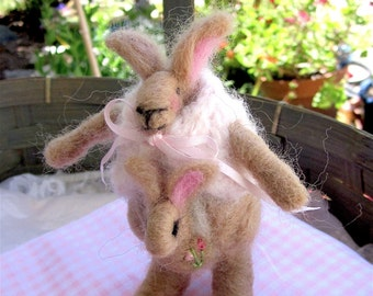 Needle Felted Kangaroo Doll- and Baby/ Heirloom Collectible/Lola and Miss Rosy