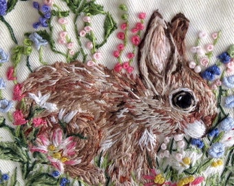 Woman's Shirt Size Small, Gift for Mom, Daughter/ Hand Embroidered Wearable Art;  One of a Kind/ Sleeveless,  New, /  In the Bunny Garden