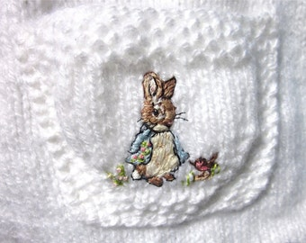 Baby Poncho & Pants Set for Easter, Size 18mos./ Hand Knit and Embroidered; OOAK / If Peter Rabbit Had A Twin Sister