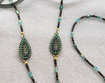 Free Shipping! Teal and Gray Eyeglasses or Reading Glasses Chain