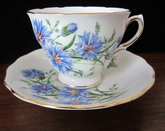 Royall Vale Bone China Blue Cornflower Tea Cup And Saucer Set By Ridgway Potteries Ltd. Made In England