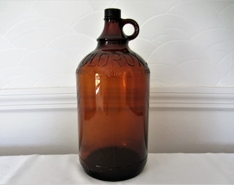Antiques Glass Clorox Cleaner 64oz Amber Brown Embossed Glass Jug Bottle W/ Clorox Cap