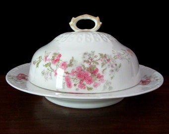 CH Field Haviland Limoges Round Floral Covered Butter or Cheese Dish. Circa 1940s