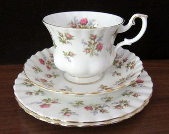 Royal Albert Bone China Tea Cup, Coffee Cup, Saucer And Two Bread And Butter or Dessert Plates. Winsome Pattern