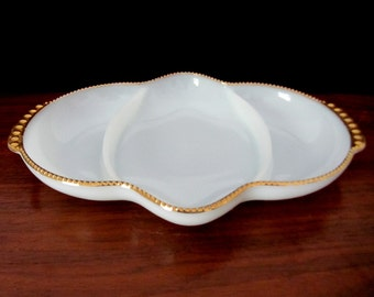 Fire King Three Section White Oven Ware Serving, Baking or Relish Dish With Gold Trim